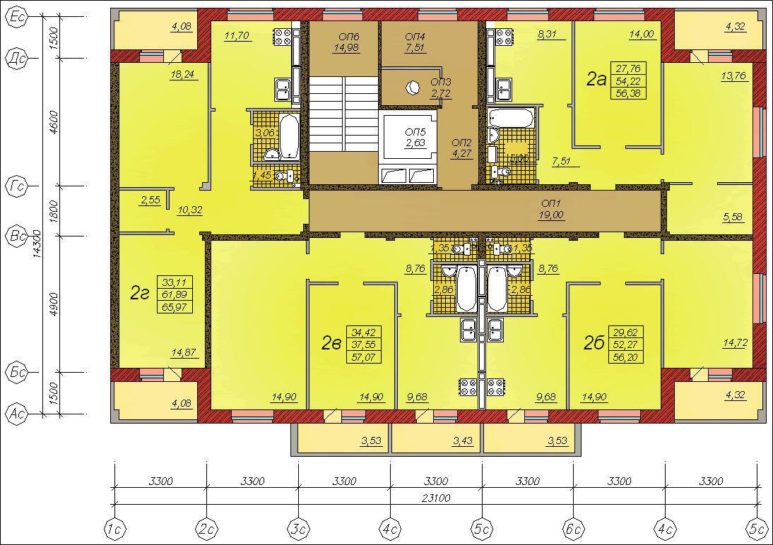 9-ти этажный жилой дом с площадью этажа 287 кв. м железобето.