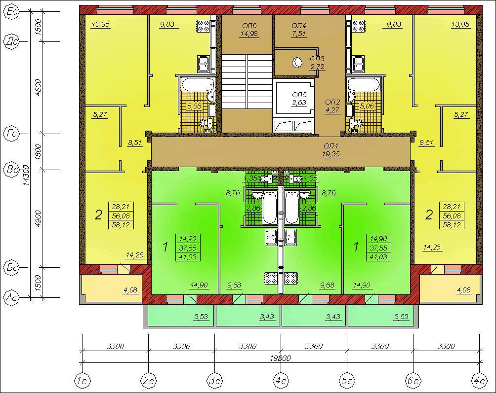 9-ти этажный жилой дом с площадью этажа 250 кв. м железобето.