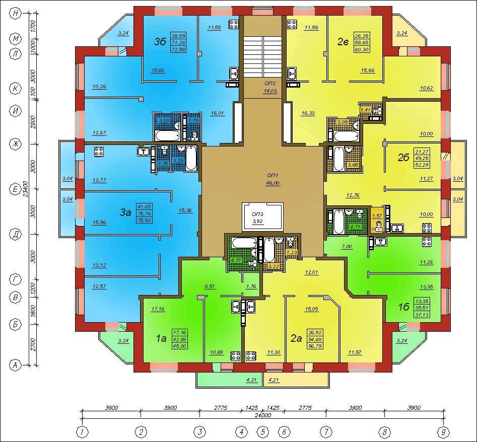10-ти этажный жилой дом с площадью этажа 467 кв. м (2) желез.